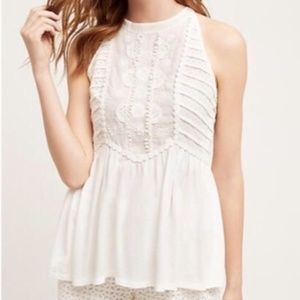 Anthropologie EUC White Lace blouse